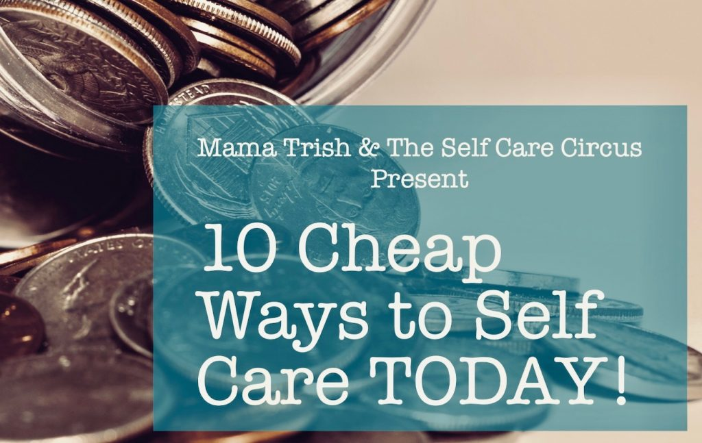 "A zoom in on the title of the front page of my ebook, ""10 Cheap Ways to Self Care Today!"", and change spilling out of a jar"