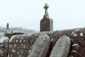 An ancient graveyard on a grey day