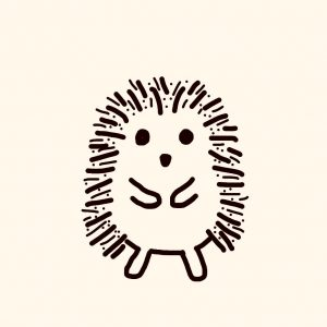 Drawing I did of Hedgehog. (Since I cut off all my hair into a punk rock crewcut hubby calls me that. May also be because I'm prickly, but cute.